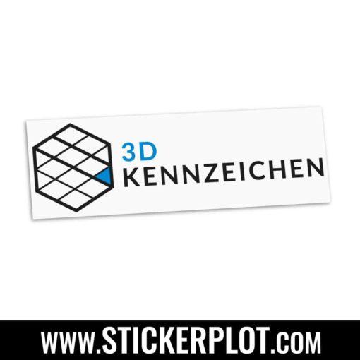 Sticker 3D-Kennzeichen - Schwarz - Blau