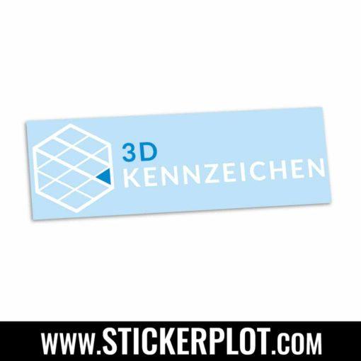 Sticker 3D-Kennzeichen - Schwarz - BlauSticker 3D-Kennzeichen - Weiß - Blau